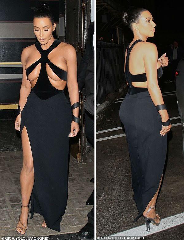 Ngực nặng trĩu như hai trái bom nhưng Kim Kardashian vẫn nghiện diện đầm bức tử vòng 1-2