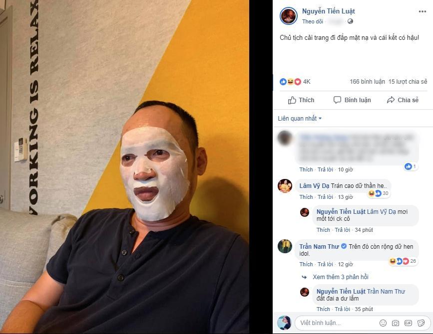 Chủ tịch Tiến Luật đắp mặt nạ dưỡng da và cái kết khi bị Thu Trang và 500 anh em đồng nghiệp xúm vào cười thối mũi-1