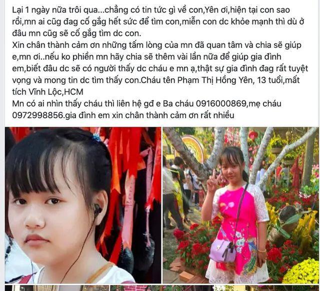 Nữ sinh lớp 8 ở TP HCM mất tích nhiều ngày qua-1