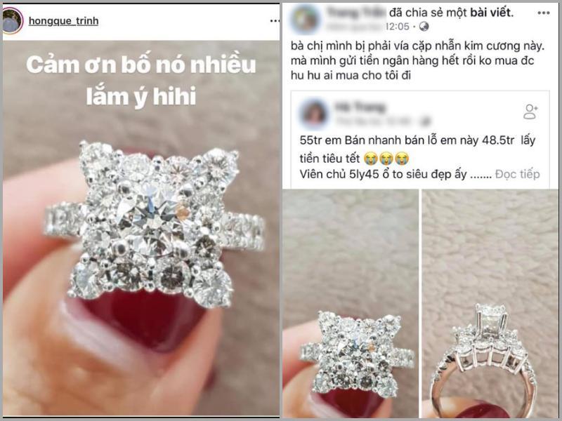 LẠ THẬT SỰ NÈ: Hồng Quế lại bị bóc phốt kiên trì bốc phét nhẫn kim cương 55 triệu biến thành 500 triệu chồng tặng-1