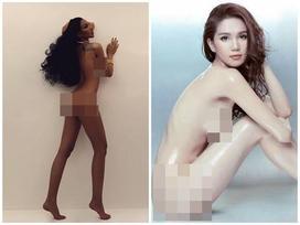 Cùng chụp hình khỏa thân nhưng mang 2 sắc thái: Ngọc Trinh trắng nõn nà - Minh Triệu khoe da nâu tuyệt đỉnh