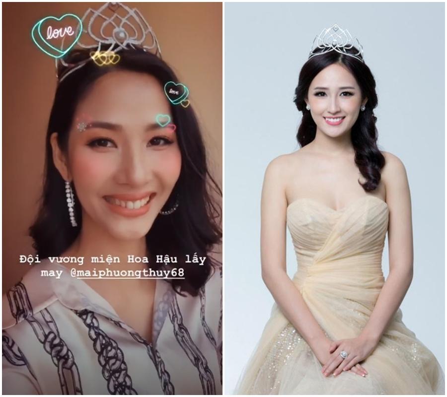 Hoàng Thùy chưa thi Miss Universe 2019 mà đã có hoa hậu cho mượn vương miện đội đầu để lấy may-2