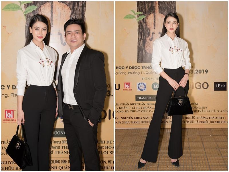 Phương Khánh tham dự sự kiện với bác sĩChiêm Quốc Thái- người đã giúp cô tiêm để làm thon gọn gương mặt trước đây