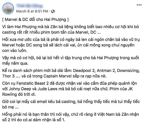 Vì Hai Phượng, Ngô Thanh Vân từng từ chối hàng loạt phim siêu anh hùng Hollywood-2