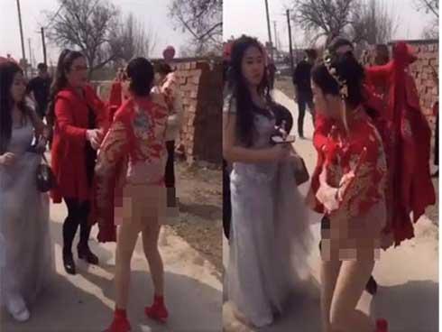 Cô dâu TQ choáng váng vì bị họ nhà trai tụt váy cưới ngay trong hôn lễ-1