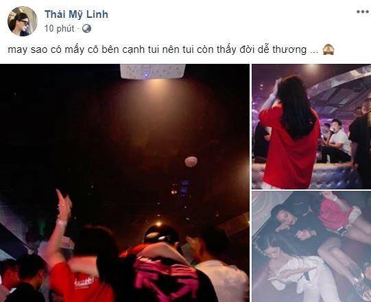 Sau nghi án bán dâm nghìn đô, Á hậu Thái Mỹ Linh công khai ảnh đi bar phê pha hít bóng cười-1