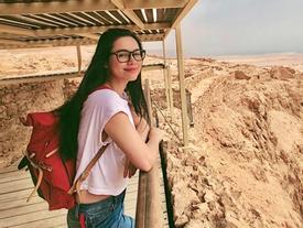 Á hậu Hoàng My chạy từ tầng 22 xuống hầm tránh tên lửa ở Israel