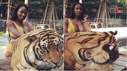 Diện bikini vào chuồng hổ uốn éo chụp hình, Hoa hậu Chuyển giới 2019 giật mình thon thót vì sợ bị ăn thịt