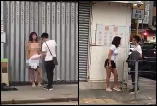 Cãi nhau với chồng, cô vợ trẻ tức giận lột phăng quần áo, lộ cả đồ lót giữa phố