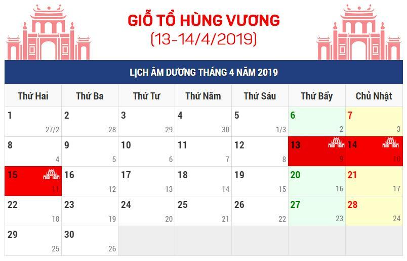 Lịch nghỉ chi tiết giỗ tổ Hùng Vương và lễ 30/4 - 1/5: Tổng là 8 ngày-1