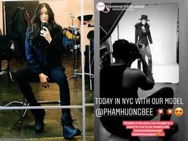 Sau tin đồn sinh con cho đại gia, Phạm Hương bất ngờ khởi động làm mẫu với đối tác quốc tế
