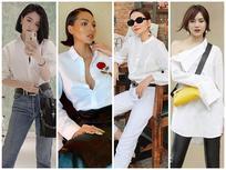STREET STYLE sao Việt: Học Bích Phương, Thanh Hằng, Minh Triệu... cách mix đồ cùng sơ mi trắng 'chất phát ngất' đón hè
