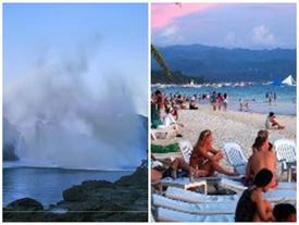 Sóng dữ cao hơn 8 m, du khách vẫn thoải mái bơi lội ở Philippines