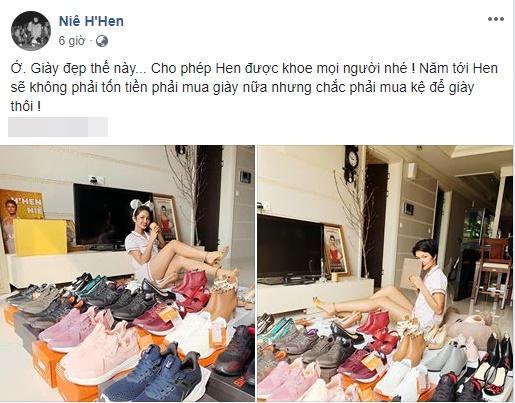 Hoa hậu nghèo HHen Niê khoe tủ giầy hoành tráng toàn hàng bình dân nhưng ai cũng xuýt xoa khen ngợi-1