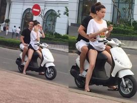 Hồ Ngọc Hà - Kim Lý tình tứ xuống đường bằng xe máy, dân mạng lập tức nhắc nhở: 'Thế mũ bảo hiểm đâu?'