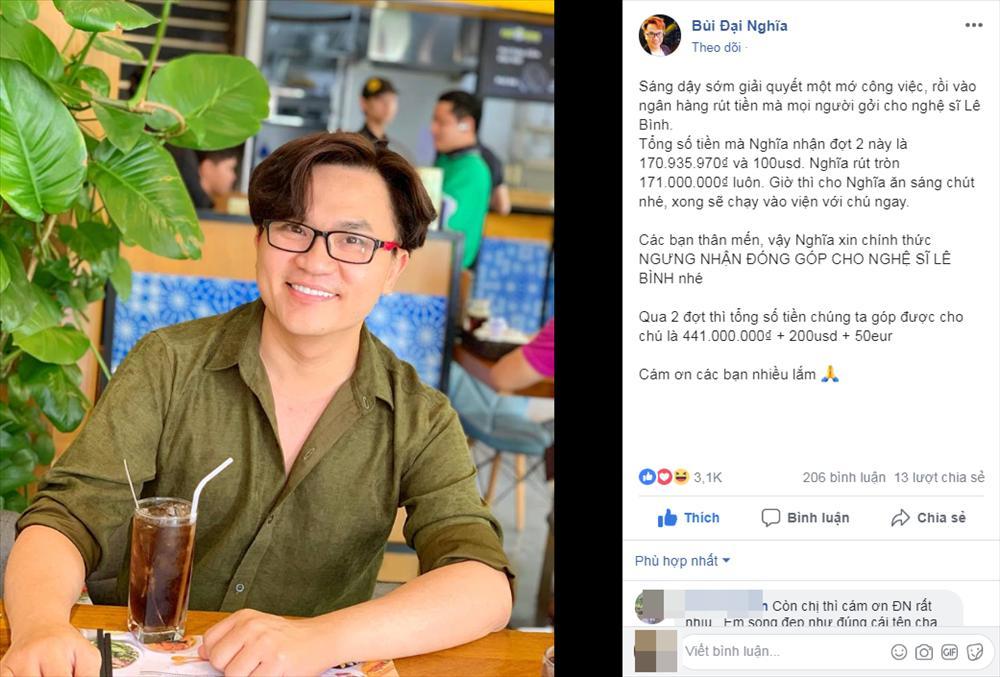 MC Đại Nghĩa thông báo ngưng nhận tiền ủng hộ nghệ sĩ Lê Bình sau khi đã chốt sổ hơn 400 triệu đồng-1