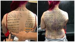Xăm tên Khá Bảnh và hàng loạt ca sĩ lên lưng, cô gái bị chê giống bia tưởng niệm