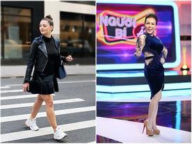 Sải bước trên phố, Hoa hậu Hoàn vũ 2017 khiến ai nấy hết hồn với chiều cao ngang ngửa danh hài Việt Hương