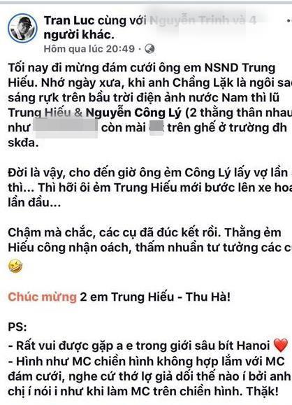 Thành Trung, Thảo Vân bị Trần Lực nói dẫn đám cưới giả dối, thớ lợ-2