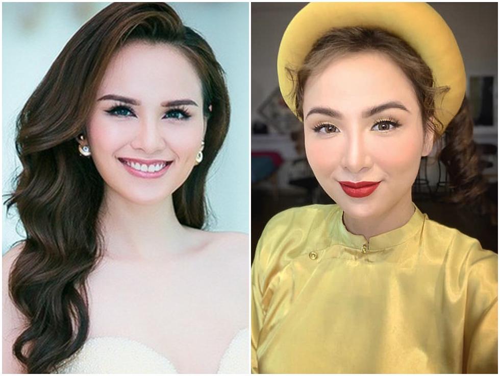 Hoa hậu Diễm Hương làm lố khi mặc áo dài và trang điểm lồng lộn để phục vụ sinh tố-6