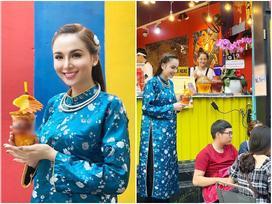 Hoa hậu Diễm Hương 'làm lố' khi mặc áo dài và trang điểm lồng lộn để phục vụ sinh tố