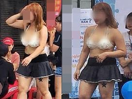 Mặc quần ngắn cũn cỡn mix cùng áo lót hở hang, cô gái khiến người nhìn 'nín thở' khi đi lại rồi nhảy nhót trên phố Hà Nội