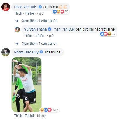 Văn Thanh biên tus ngày trở lại, đồng đội nhiệt tình thả tim, cổ vũ-2