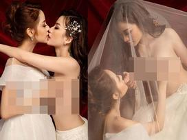 Xôn xao cặp đồng tính nữ Việt nổi đình đám đi chụp ảnh cưới, đáng chú ý nhất là khoảnh khắc cô dâu phơi ngực trần