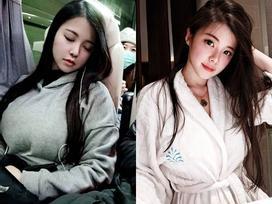 Girl xinh gây sốt vì ngủ gật trên tàu điện, nhưng vòng 1 'khủng' mới là tâm điểm chú ý của dân tình