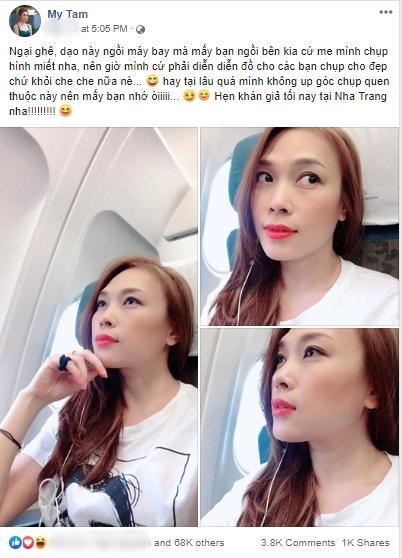 Phản ứng của Mỹ Tâm khi bị rình chụp trộm trên máy bay khiến fan nghi ngờ cô bị hack Facebook-1