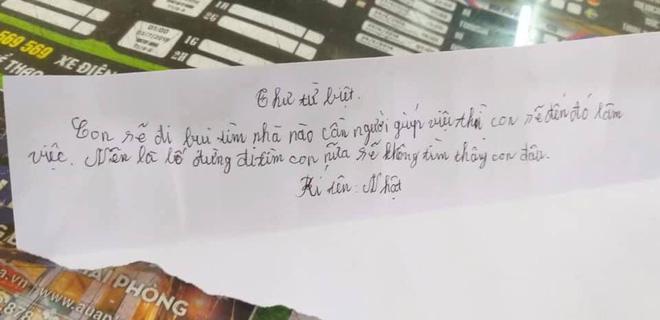 Hải Phòng: Bé trai 11 tuổi viết thư từ biệt gia đình để đi lập nghiệp, nhắn bố đừng đi tìm-2