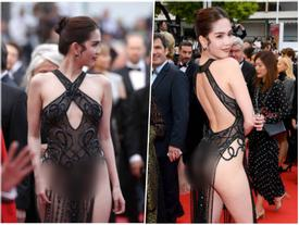 Ngọc Trinh gây sốc với trang phục như trình diễn nội y, lộ hết vòng 3 trên thảm đỏ Cannes 2019