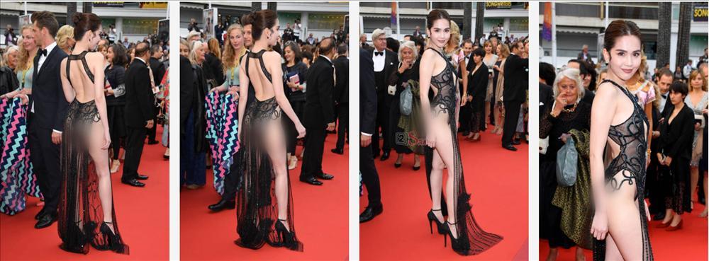 Đến Cannes ngày đầu đã lộ vòng 1, Ngọc Trinh lộ tiếp cả vòng 3 trong bộ đầm mỏng tang khác gì nội y-1