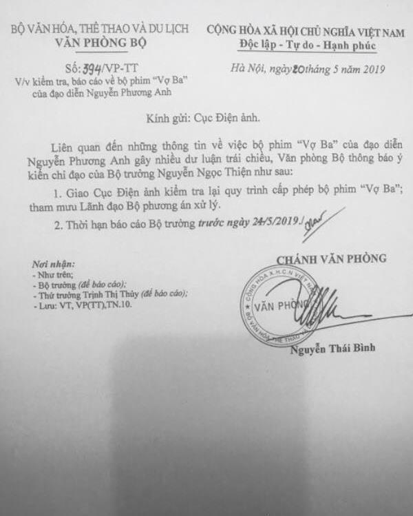 Vợ ba dừng chiếu, Bộ Văn hóa yêu cầu kiểm tra quy trình cấp phép-2