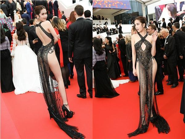 Dân tình ném đá đủ chưa, Ngọc Trinh tiếp tục hở bạo với bộ đầm xuyên thấu khác nào corset tại Cannes 2019 đây này-7