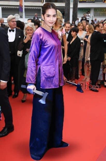 ĐỐ KHÔNG CƯỜI: Thấy Ngọc Trinh ăn mặc thiếu vải, cộng đồng photoshop ra tay thiết kế lại trang phục dự Cannes cho nữ hoàng nội y-7