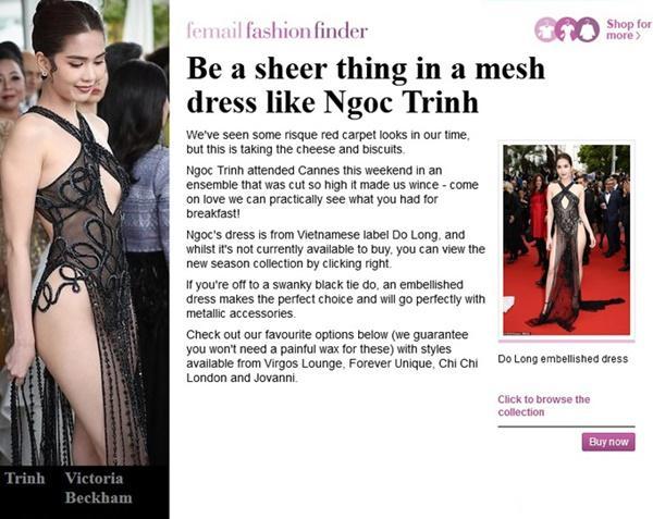 Ngọc Trinh bị báo Anh chế giễu vì váy nhìn thấy hết mọi thứ ở LHP Cannes-2