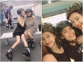 Nhã Phương lộ đôi chân gầy không có chút sức sống trong bức ảnh chụp cùng mẹ và em gái