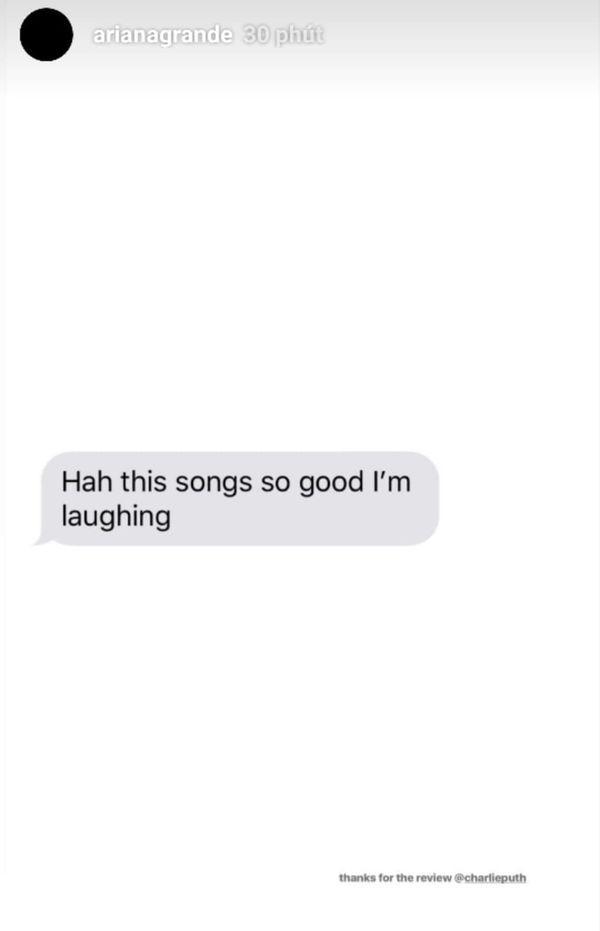 Ariana Grande gửi bài hát mới cho Charlie Puth nghe thử, và đây chính là phản ứng của anh chàng…-1