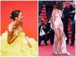 Người mẫu xinh đẹp Brazil 'hết hồn' vì tụt váy bất ngờ ngay trên thảm đỏ Cannes