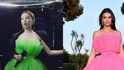 Tóc Tiên đăng ảnh Kendall Jenner mặc trang phục gần giống mình nhưng đã chú thích rõ để không bị nghi mặc đồ nhái