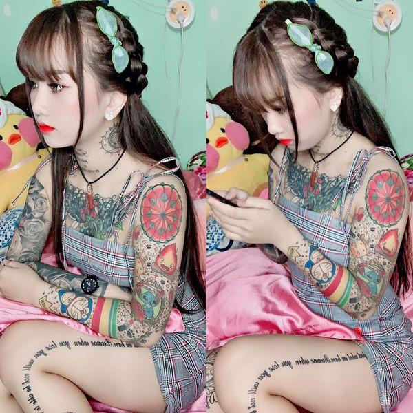Cô gái xinh đẹp An Giang 19 tuổi kể chuyện xăm kín ngực, 14 hình ở chân-2