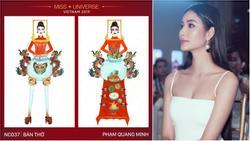 Hoàng Thùy 'cạn lời' vì ý tưởng thiết kế trang phục truyền thống cho Miss Universe 2019 lấy cảm hứng từ... BÀN THỜ