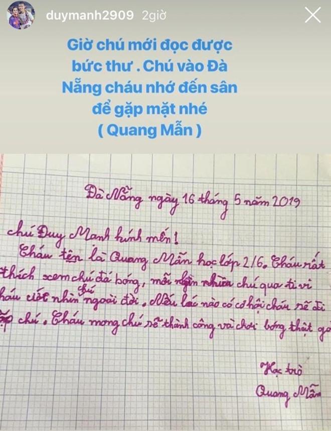 Fan nhí Đà Nẵng gửi thư cho Duy Mạnh: Cháu ước nhìn chú ngoài đời-1