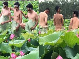 4 chàng trai Bắc Giang gây sốc khi khoe vòng 3, tạo dáng phản cảm bên hồ sen