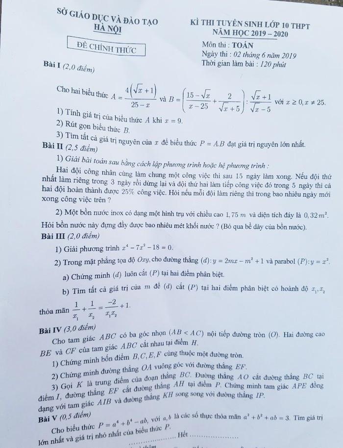 Đề thi Toán vào lớp 10 khiến học sinh hùng hục tính toán-1