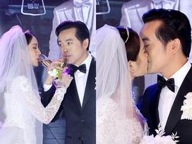 Dương Khắc Linh hôn say đắm cô dâu Sara Lưu trong không gian tiệc cưới lộng lẫy như cổ tích