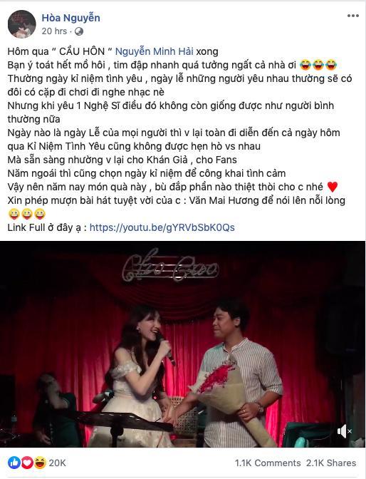 Bất Ngờ Chưa: Hòa Minzy quỳ gối cầu hôn bạn trai nhân kỷ niệm 2 năm yêu nhau-1