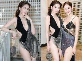 Cũng mặc bikini quấn khăn mỏng tang lên thảm đỏ, Linh Chi ve vuốt Ngọc Trinh: 'Mặc kệ những đứa đánh giá chúng mình'