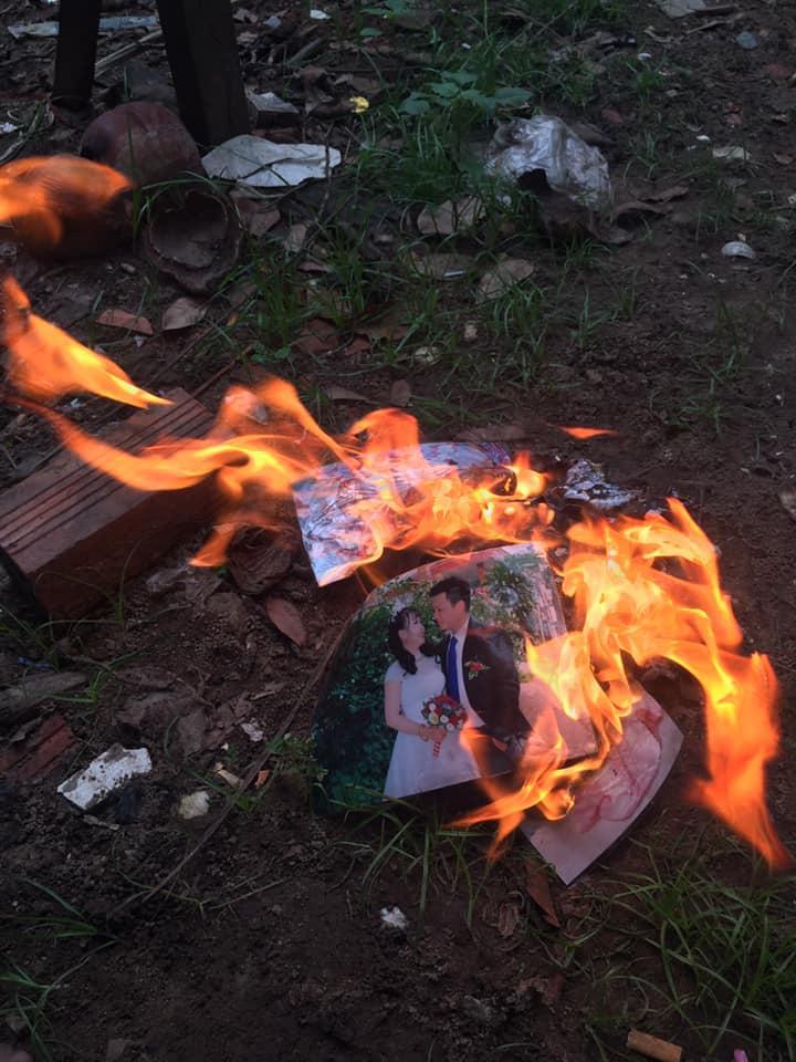 Xôn xao clip vợ đốt ảnh cưới như mớ rác sau ly hôn chỉ vì người thứ ba của chồng...-4